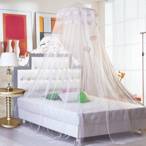 NO:1 Mode Spitze Vorhang Kuppel Bett Baldachin Netze Moskitonetz Bett Zelte Bettvolant - Weiß