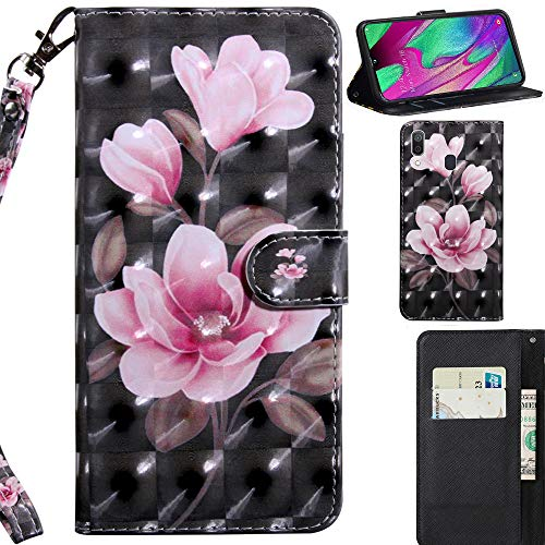 DodoBuy 3D Hülle für Samsung Galaxy A40, Flip PU Leder Schutzhülle Handy Tasche Brieftasche Wallet Case Cover Ständer mit Kartenfächer Trageschlaufe Magnetverschluss - Pink Blume Wallet Case Cover