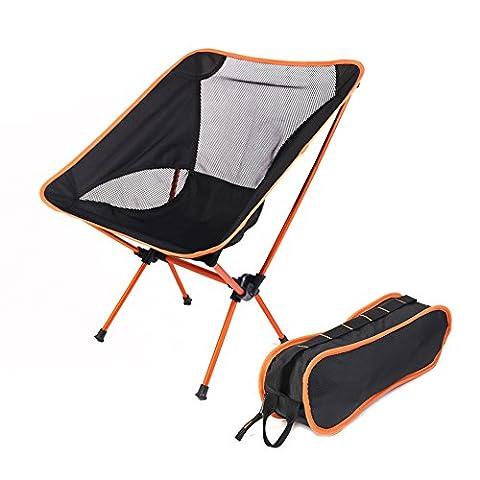 Chaises de camping pliable portable, Lightweiht épaissir Oxford Leisure Tabouret avec sac de transport pour extérieur pique-nique Plage Voyage Pêche., Orange