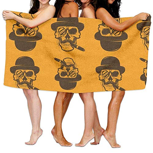 ed Microfiber Beach Towel Blanket Cool Halloween Skull with Cigar Super Absorbent Badetuch, Soft, Quick Dry, for Outdoor Camping Sports Travels Quick Drying 31.5 X 51.2 Inch ()