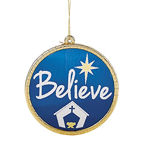 h Christ Collection Believe Rund Glas Weihnachten Ornament, 23/10,2cm, 6Stück ()
