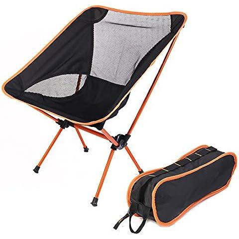 Silla de camping, de alta calidad de aleación de aluminio plegable con asiento portátil ligero, compacto y heavey Duty (hasta 350libras), cómodo para todos los eventos en el exterior en césped playa, Pesca y senderismo, naranja