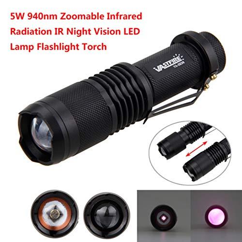 IR Taschenlampe, IR 940nm Objektiv Infrarot Taschenlampe, Infrarotlicht Nachtsicht Taschenlampe Zoombar Einstellbarer Fokus, für Nachtsichtgeräte, VASTFIRE