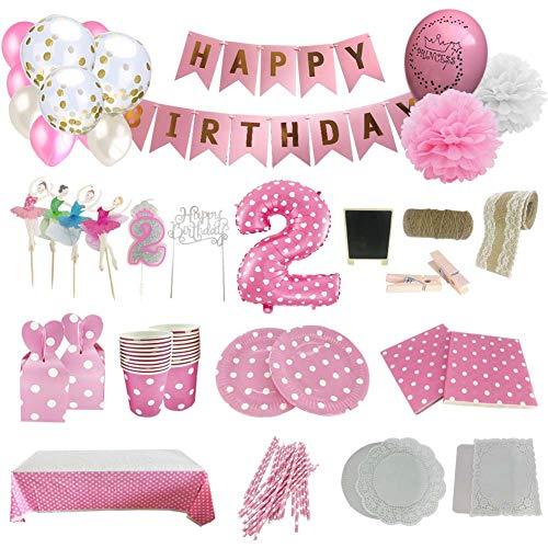 Set de Artículos Accesorios Completo para Decoración Fiestas Cumpleaños bebé Niña de 2 año Lote de 164 Piezas Sirve 16 Invitados(2 año)