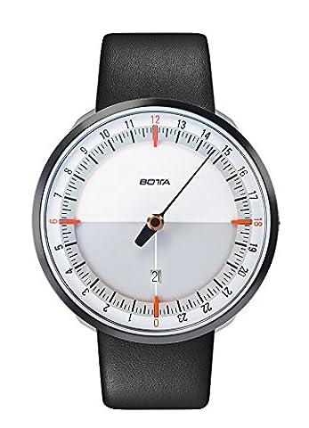 Botta de design Nations unies 24Plus Blanc/Orange Montre Bracelet–24h einzeiger Horloge, acier inoxydable, verre saphir anti-reflets, Bracelet en Cuir