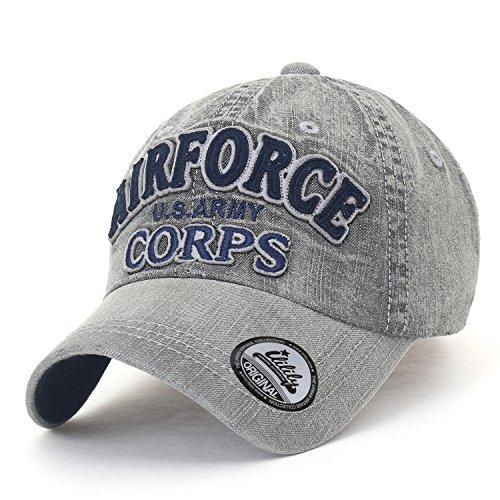 ililily AIR Force gewaschene Baumwolle Denim klassischer Stil Trucker Cap Hut Freizeitkleidung Baseball Cap , Grey