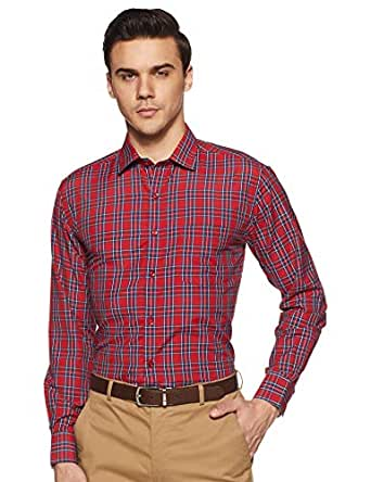 Diverse Men's Checkered Regular Fit Formal Shirt (DVF07F1L01-209_Red_39)