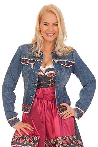 Jeans Kostüm Jacke - Krüger Dirndl Damen Trachten Jeansjacke - Dafne - Jeansblau, Größe 32