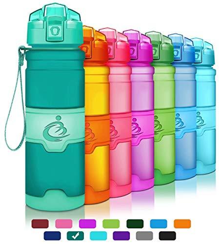 Grsta bottiglia d'acqua sportiva senza bpa - riutilizzabile borraccia in plastica tritan 400ml/500ml/700ml/1000ml ideale bottiglie per bambini, scuola, ufficio, bici, calcio
