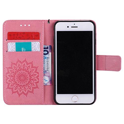 Apple iPhone 7 4.7 Coque, Voguecase TPU avec Absorption de Choc, Etui Silicone Souple, Légère / Ajustement Parfait Coque Shell Housse Cover pour Apple iPhone 7 4.7 (Tournesols-Vert)+ Gratuit stylet l' Tournesols-Pink