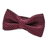 DonDon pajarita noble para niños chico - combinada y ajustable 9x 4,5 cm - de color rojo oscuro -...
