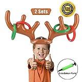 PROACC Aufblasbares Rentier-Geweih-Ring-Wurf-Spiel Weihnachtsfest-Wurf-Spiel für Familien-Kinder Büro-Weihnachtsspaß-Spiele (2 Geweihe 8 Ringe)