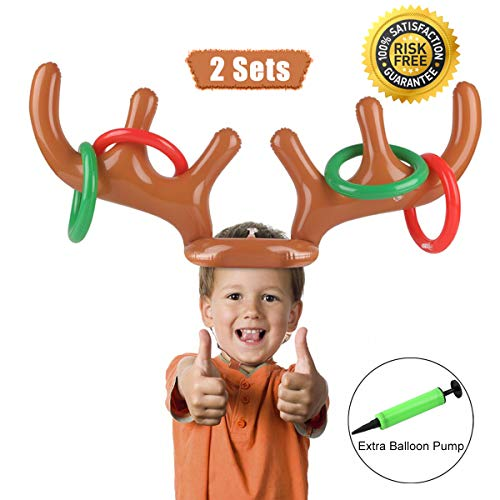 Proacc gonfiabile renna antler ring toss gioco natale party toss game per la famiglia kids office xmas fun games (2 antlers 8 rings)