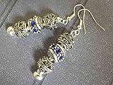 Pendientes Charms modelo Thurcolas Manhattan con perlas de metal y cristales azules.