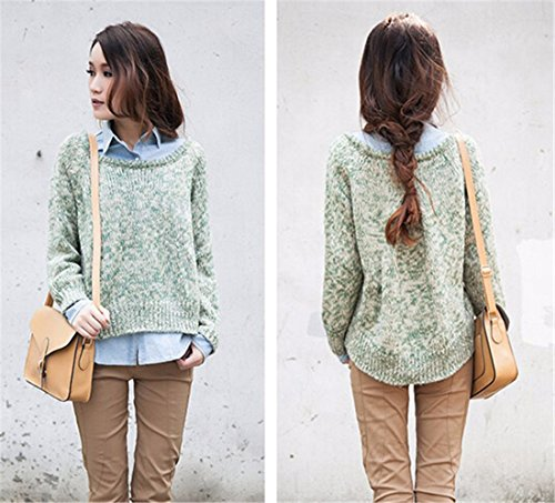 QIYUN.Z Les Femmes Coreennes Spilcing Chandail Furcales Coupe-Bas Ourlet Irreguliere Outwear Vert Clair