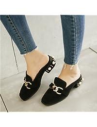 Qingchunhuangtang@ La primavera y el verano sandalias zapatillas zapatillas Baotou cuadrado con sandalias,Thirty-Seven...