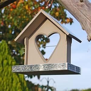 Gardens2you Mangeoire à oiseaux avec support à pomme en forme de cœur Peint à la main Gris