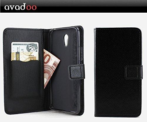 avadoo® ZUK Z1 Flip Case Cover Tasche Schwarz mit Magnetverschluss und Dualnaht als Cover Tasche Hülle