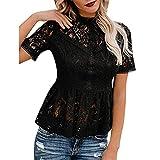 FRAUIT Magliette Ragazza Manica Lunga Tinta Unita in Pizzo Maglia Donna Elegante Corta Orlo Irregolare Camicetta Casual Donne Camicia Maglietta T-Shirt Blusa per Primavera