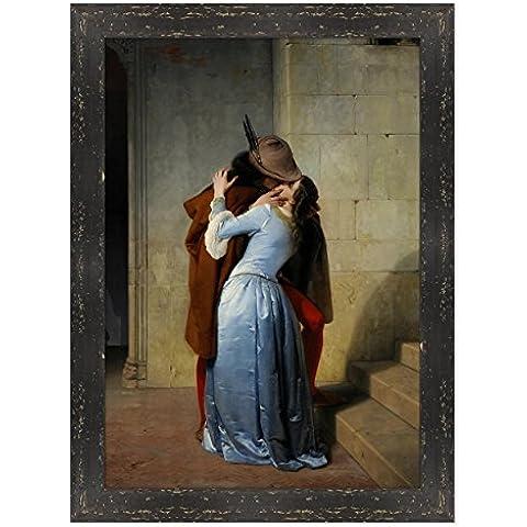 POSTER CON CORNICE - INCORNICIATO - QUADRO - ARTE - IL BACIO - THE KISS - Francesco Hayez - Pinacoteca di Brera - 70x100m - Stile Country Nero Shabby - (cod.116)