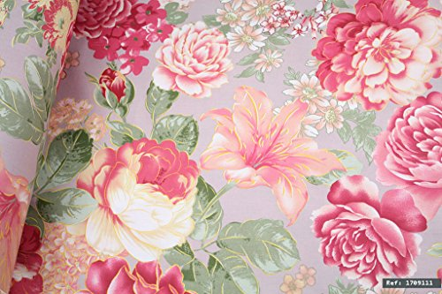 Rose Floral Cotton Fabric (Highlighted Pink Yellow Roses Floral 100% cotton fabric, 1m length x 1.6m width. By the meter - Ref:1709111)