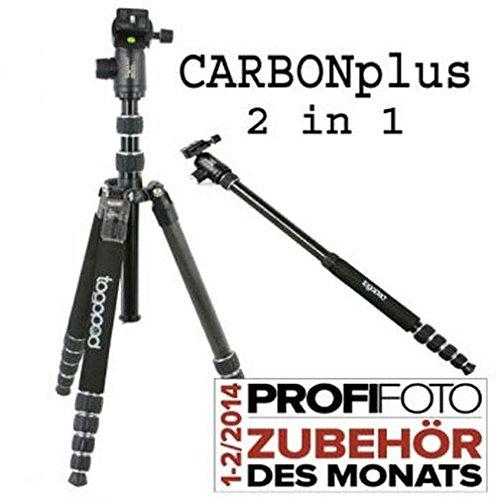 togopod 740153 Patrick CARBONplus Dreibein-Stativ mit integriertem Einbeinstativ bis 15kg (Monday Deal 180 Cyber)