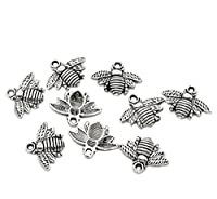 Charm Buddy 10 x Silver Tone Bumble Bee Pendant Charms 21mm x 16mm