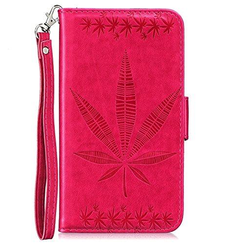 YHUISEN Geprägte Maple Leaf Design PU-Leder Flip Wallet Stand Case mit Kartensteckplatz für Huawei P9 Lite ( Color : Rose ) Rose
