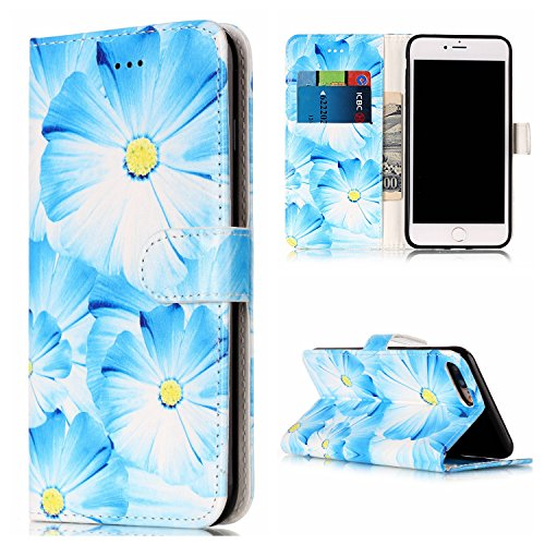 Qiaogle Telefon Case - PU Leder Wallet Schutzhülle Case für Apple iPhone 7 (4.7 Zoll) - YH74 / Traumfänger YH71 / Blau Blütenblätter