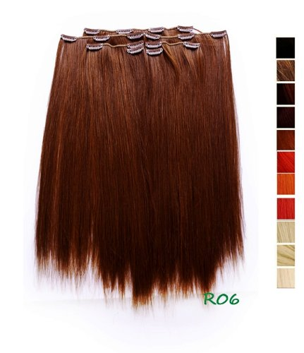 Cosplayland r06 - 7 ciocche di extension con clip, lunghe 50 cm, capelli lisci e soffici, colore: rosso castano
