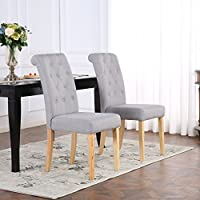 The Home Garden Store Set of 2 Premium Linen Fabric Dining Chairs Scroll High Back Light Grey