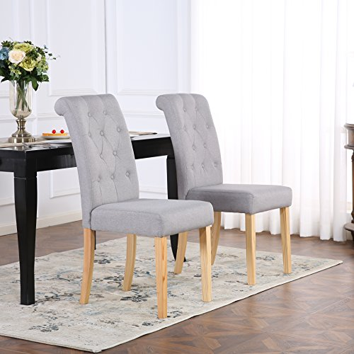 Amazon Dining Chairs: Set Of 4 Premium Linen Fabric Dining Chairs Scroll High