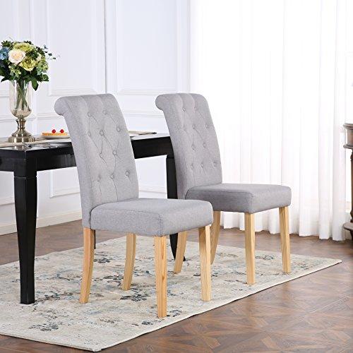Set di 2sedie da pranzo in tessuto di lino con schienale alto, grigio chiaro
