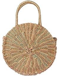 9513e47c11b31 Meaeo Chic Handgefertigten Rattan Gewebe Runde Handtasche Vintage Retro  Stroh Aus Gewirken Messenger Bag Dame Handtasche
