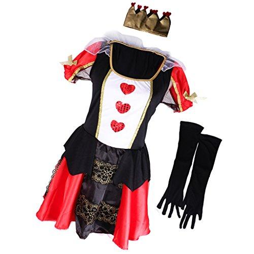 MagiDeal Königin der Herzen Kostüm alice Märchen Halloween Party (Die Wunderland Der Königin Herzen Alice Im)