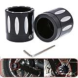 katur schwarz CNC Deep Edge Kontrast Vorderachse Mutter Deckel für Harley Dyna v-rod Touring Sportster XL883XL1200–Set