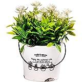 Scrafts White Dry Flower Arrangement Ceramic Base Artificial/Dry/Faux Flowers Arrangement For Home Décor/Living Room Décor/Table Décor/Office Décor/Wedding Décor/Party Décor. LBH(inches)=3X3X5