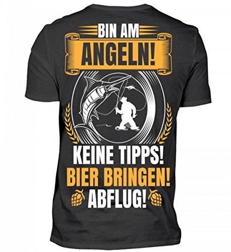 Hochwertiges Herren Shirt - Bin am Angeln Bier Bringen! Abflug! - B
