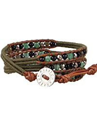 KELITCH Natur Hematit Jade Onyx Mischen Beads 3-fach Bracelet Crafted Freundschaft Armband WickelArmband - Braun Leder