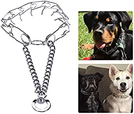 Petlicious & More Chrome Plated Strong Dog Prong Collar Pinch Collar Dog Training Collar Dog Collar - 18 Inch Collar