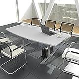 EASY Konferenztisch Bootsform 180x100 cm Lichtgrau Besprechungstisch Tisch
