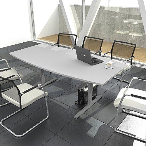 EASY Konferenztisch Bootsform 180x100 cm Lichtgrau Besprechungstisch Tisch, Gestellfarbe:Silber