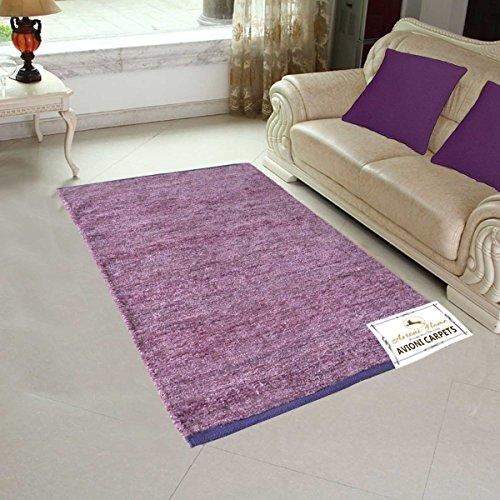 Avioni Handloom Rugs For Living Room Solid Colors Light Purple -3 Feet X 5 Feet