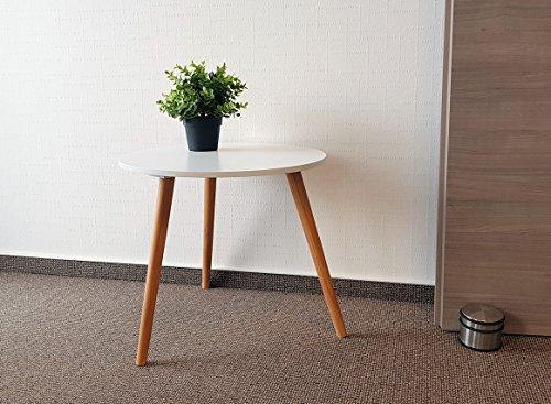 Design Couchtisch weiß - Retro Beistelltisch 48 cm - Holz Deko Tisch Sofatisch (Retro Beistelltisch)