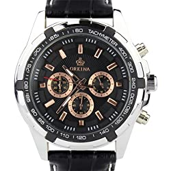 Orkina Silver Case Black Chronograph Dial Leather Strap Wrist Watch PO015-LSB