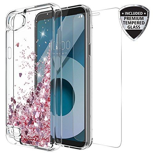 LG Q6Fall mit gehärtetem Glas Displayschutzfolie, rosebono Treibsand Glitzer Funkelnd Bling Cute Liquid glänzend Luxus Klar Soft TPU Bumper Schutzhülle für LG Q6, Rose