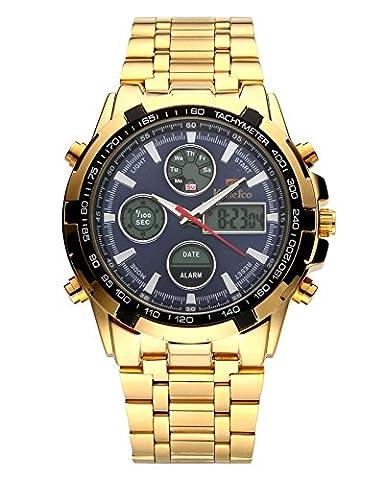 JSDDE Herren Armbanduhr LCD Digital+Quarz Uhrwerk Stoppuhr Business Kalender 3ATM Multifunktionsuhr,NO.QY30-03