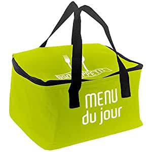 promobo lunch bag sac panier repas fraicheur isotherme menu du jour vert cuisine. Black Bedroom Furniture Sets. Home Design Ideas