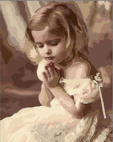 Sans cadre, Peinture par numéros Peinture à l'huile de bricolage Fille de prière Impression de toile d'ange Art de mur Décoration de maison par Rihe