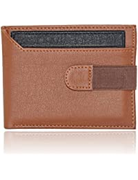 Forester Branded Stylish Men's Tan And Black True Value For Money PU Leather Wallet / Purse, Slim Design And Strap...